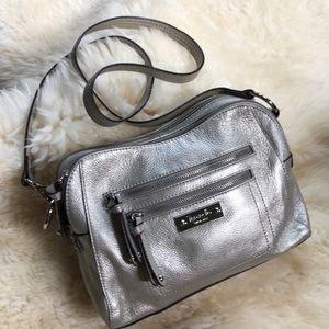 Tignanello pebble leather silver crossbody bag